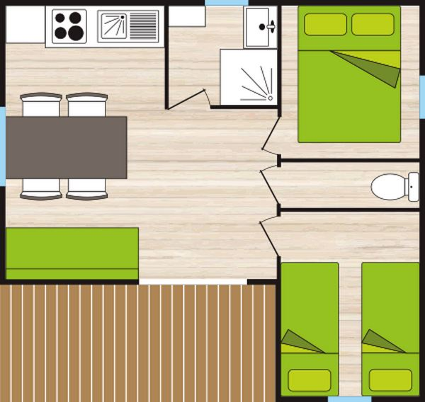 Plan chalet 4/5 places 35m² 2 chambres