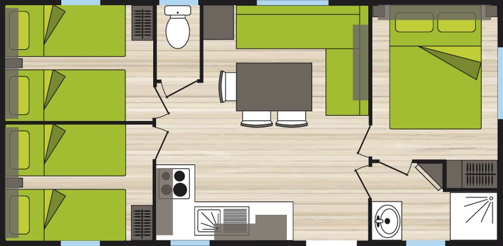 Plan mobil home 6 places 3 chambres confort