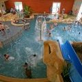 View of the indoor pool area from the top of the slides
