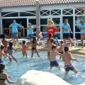 Camping dance at the swimming pool