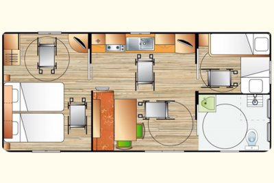 Plan du cottage PMR, mobil home 6 places 2 chambres à Pornic en Loire Atlantique